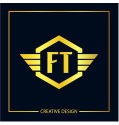 Initial ft letter logo template design vector
