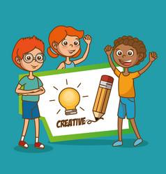 Kids with creative big idea vector