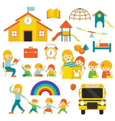 Kindergarten Preschool Teacher and Kids Set A vector