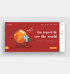 landing page tourists adventure travelling vector image