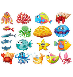 Large set many sea creatures on white vector