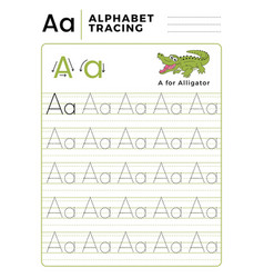 letter a alphabet tracing book with example and vector image