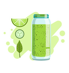 Lime and cucumber smoothie non-alcoholic fresh vector