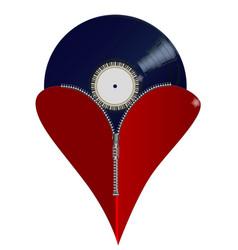 love music zipper heart vector image