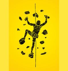Man climbing on the wall vector