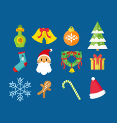 merry christmas icon pack vector image
