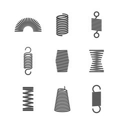 Metal flexible spiral suspension steel wire coils vector
