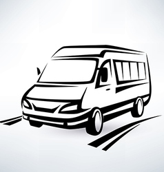 Mini van outlined sketch isolated symbol vector