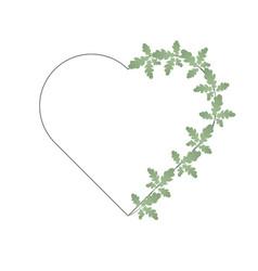 oak leaves and heart shape frame half the vector image