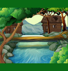 Old huts by the river vector