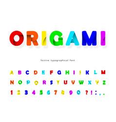 Paper cut out 3d alphabet modern urban font vector