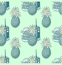 Pineapple hamburger and vintage cell phone vector