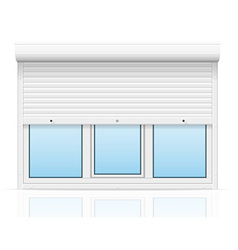Plastic window with rolling shutters 04 vector