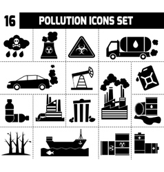 Pollution Icons Black vector