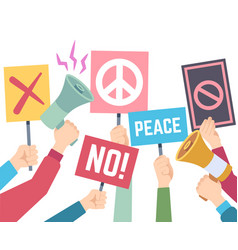 protest concept hands hold different banners vector image