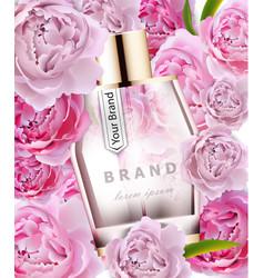 realistic pink perfume bottle mock up vector image