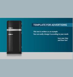 Realistic vintage black fridge icon template vector