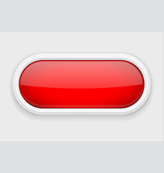 Red shiny oval button on white matted background vector