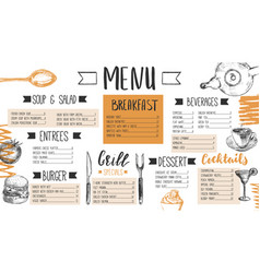 Restaurant menu templated with hand drawn food vector