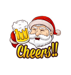 santa claus holding glass of beer vector image