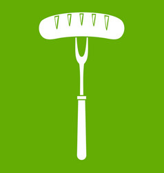 sausage on bbq fork icon green vector image