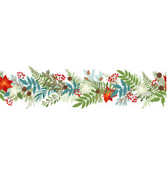 seamless christmas border with winter plants vector image