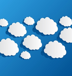 Set cut out clouds blue paper vector image