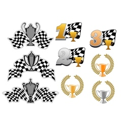 set motor sport and racing icons vector image