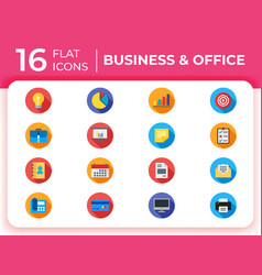 set of 16 business modern flat icons for website vector image