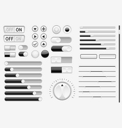 Set of black interface switch buttons sliders vector