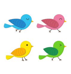 set of happy baby bird in flat style vector image