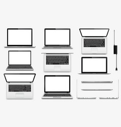 Set of laptop computers vector