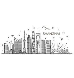 Shanghai architecture line skyline vector