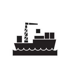 shipping container black concept icon vector image