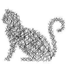 silhouette cat with straight lines vector image