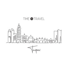 single continuous line drawing taipei city vector image