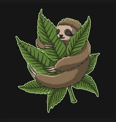 sloth hug weed vector image