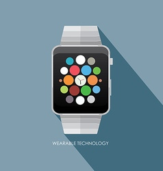 Smart watch wearable technology isolated on blue vector