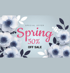 spring sale banner with paper flowers anemones vector image