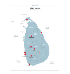 sri lanka map with red pin vector image