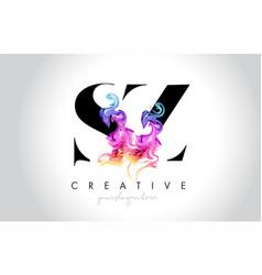 Sz vibrant creative leter logo design with vector