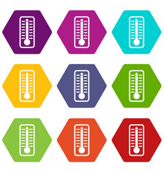 thermometer indicates high temperature icon set vector image