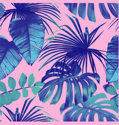 tropical palm banana leaves in blue style vector image