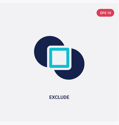 Two color exclude icon from geometric figure vector