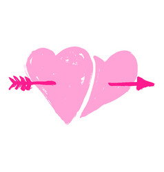 two hearts pierced with arrow sketch icon for web vector image