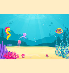 Underwater cartoon background with fish sand vector