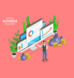 Virtual business assistant isometric flat vector
