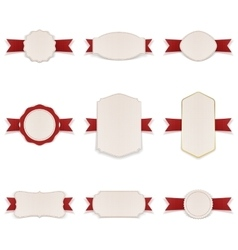 White Banners with red Ribbons Set vector