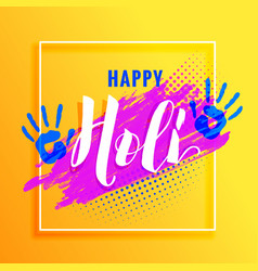yellow background with paint hand and colorful vector image
