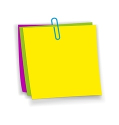 Yellow pink green sticky notes vector image